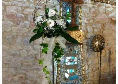 bolas de forja con flor y velas ,pra bodas en floristeria trebole en pola de laviana en la cuenca del nalon en asturias
