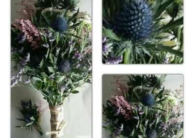 Ramo silvestre composición realizada con astible,eryngium,limoniun ect en floristeria trebole en pola de laviana en la cuenca del nalon