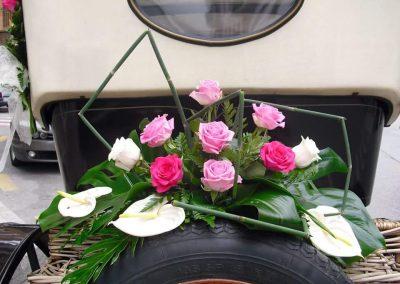 decoracion para coches nupciales,bodas ,bautizos,comuniones , en floristeria trebole en pola de laviana en la cuenca del nalon en asturias